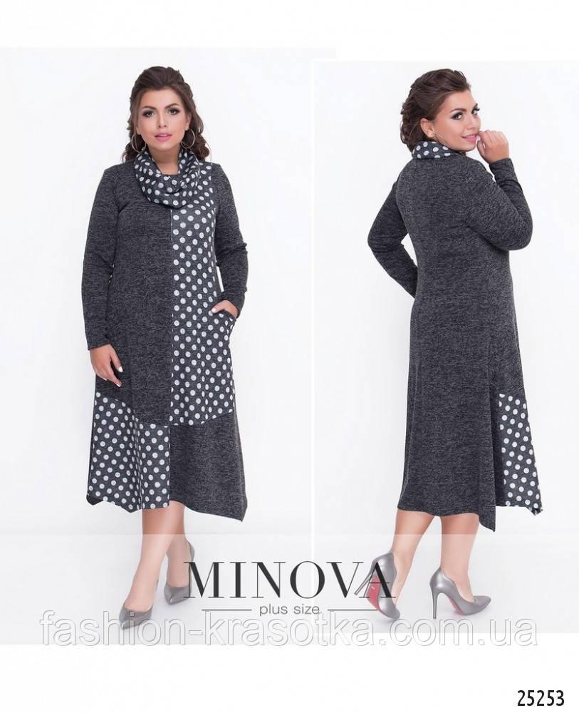 Женское шикарное платье ткань ангора в размерах 54-64