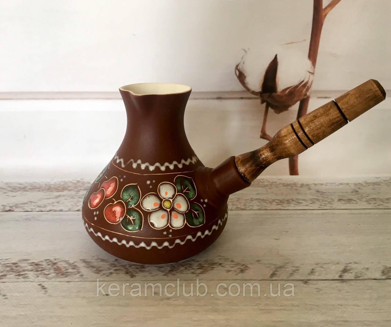Керамическая турка Вишенка