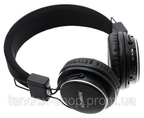 Наушники с Bluetooth Atlanfa AT-7611 (Черные, встроенное радио, слот S