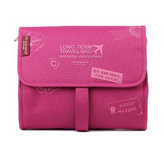 Дорожная косметичка розовая с принтом
