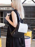 Рюкзак з клапаном чорний флай і срібло натурель, фото 1