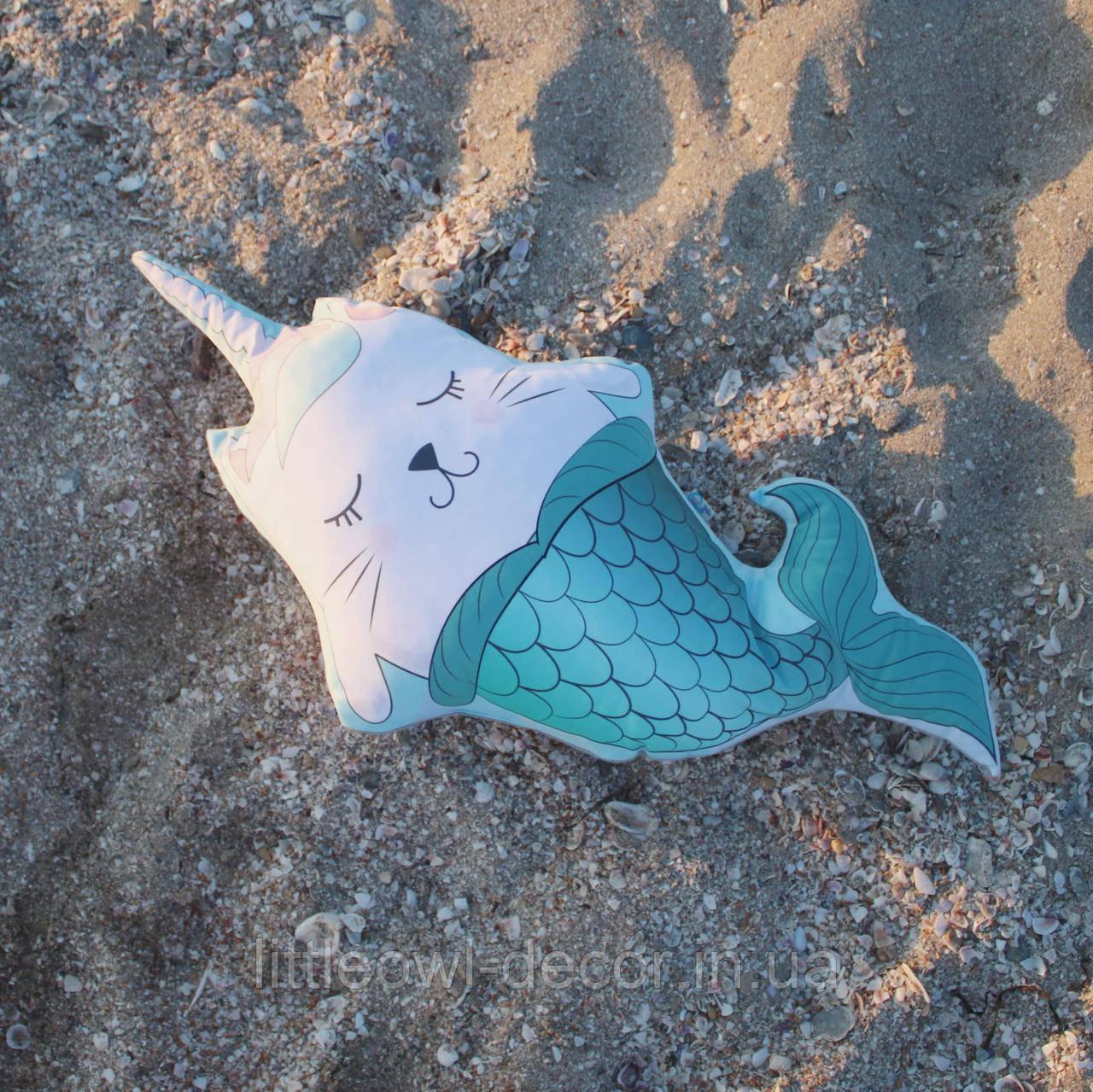 Подушка Кот-русалка 70см