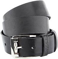 Мужской ремень SHVIGEL 10084 кожаный черный, Черный, фото 1