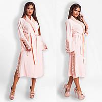 Шикарний велюровий жіночий халат з дорогим кружевом.Р-ри 42-48
