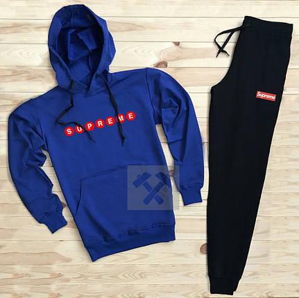 Костюм спортивный Supreme сине-черный топ реплика, фото 2
