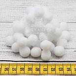 Помпоны  белого цвета, малые  15 мм (Польша), упаковка 10 шт, фото 2