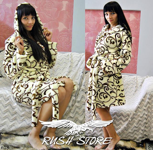 Женский махровый халат светлый с узором