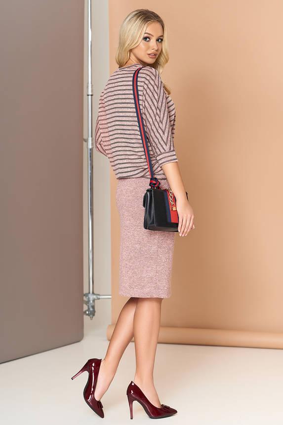Женский костюм с юбкой ангоровый розовый, фото 2