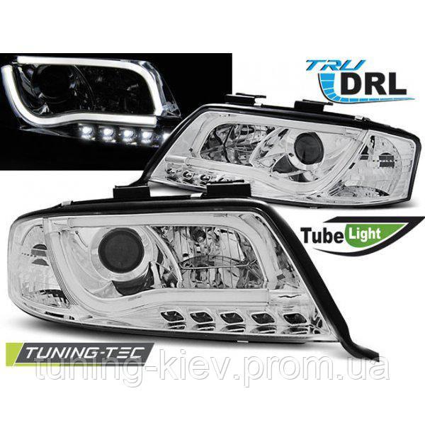 Передние фары AUDI A6 05.97-05.01 TUBE LIGHTS TRU DRL CHROME