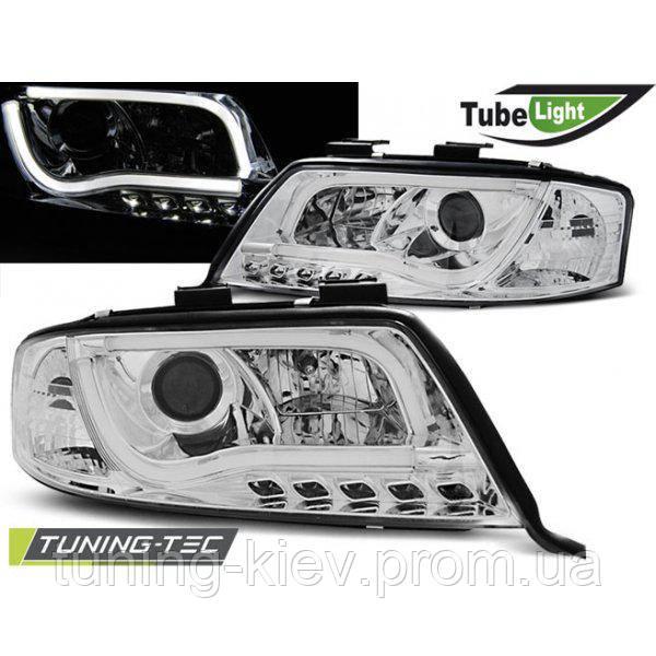 Передние фары AUDI A6 06.01-05.04 LED TUBE LIGHTS CHROME