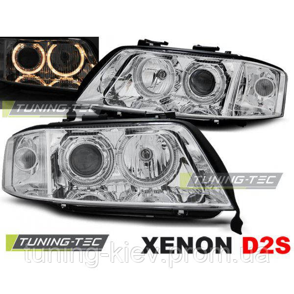 Передние фары AUDI A6 10.99-06.01 ANGEL EYES CHROME XENON