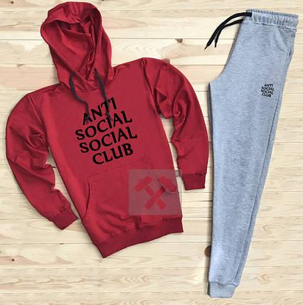Костюм спортивный Anti Social Club красно-серый топ реплика, фото 2