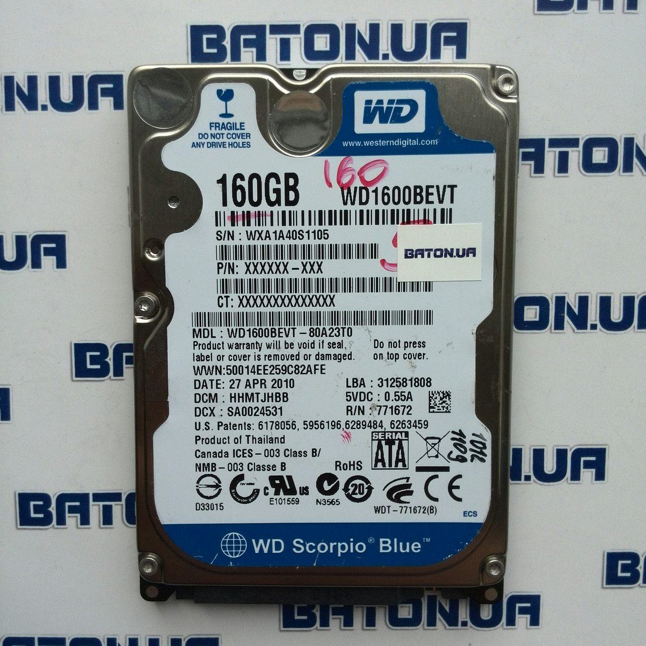 "Жесткий диск для ноутбука Western Digital Scorpio Blue WD1600BEVT 160GB 2.5"" 8MB 5400rpm SATAII 3Gb/s"