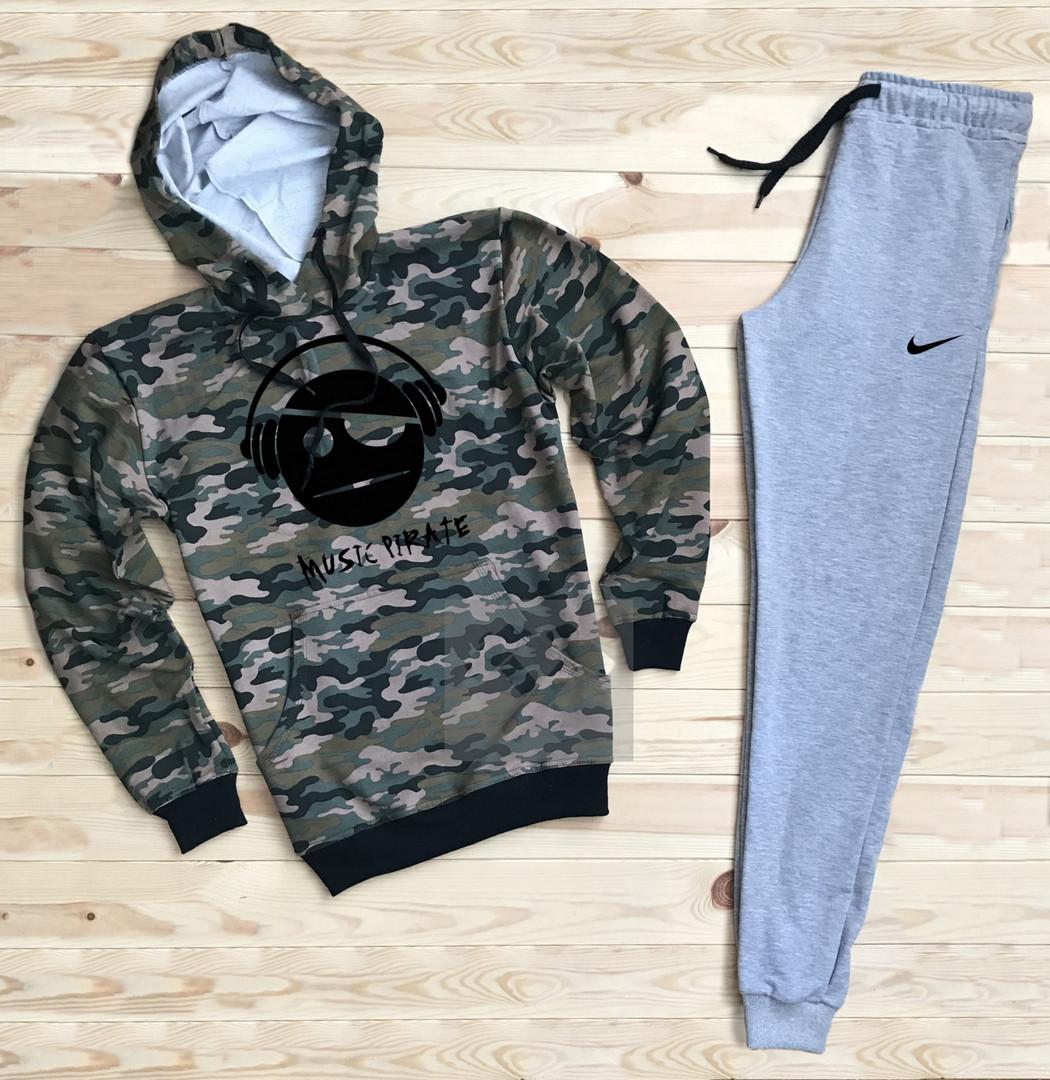 Костюм спортивный Nike камуфляжно-серый топ реплика