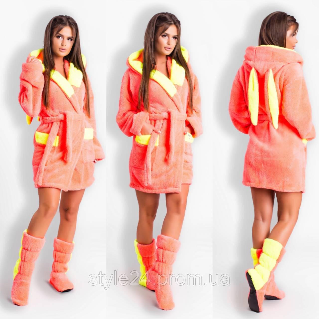 ЖІночий махровий халат з вушками та тапочками.Р-ри 42-48