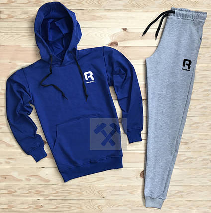 Костюм спортивный Reebok сине-серый топ реплика, фото 2