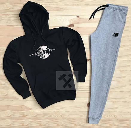 Костюм спортивный New Balance черно-серый топ реплика, фото 2
