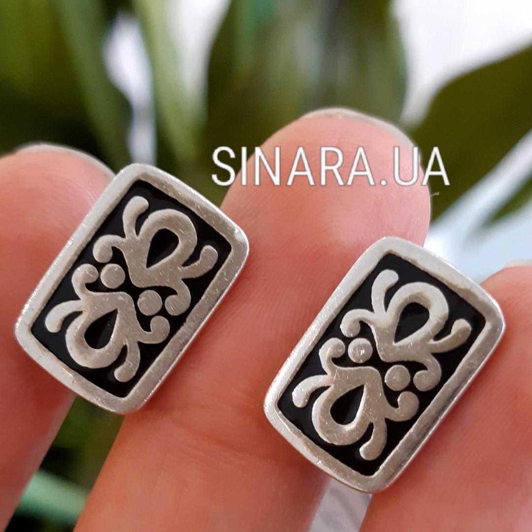 Серебряные запонки с эмалью Андалузия