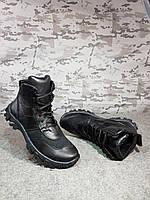 Ботинки летние Хищник черные с перфорированной тканевой вставкой , фото 1