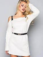 Женское ангоровое платье с открытыми плечами (5020 bej)