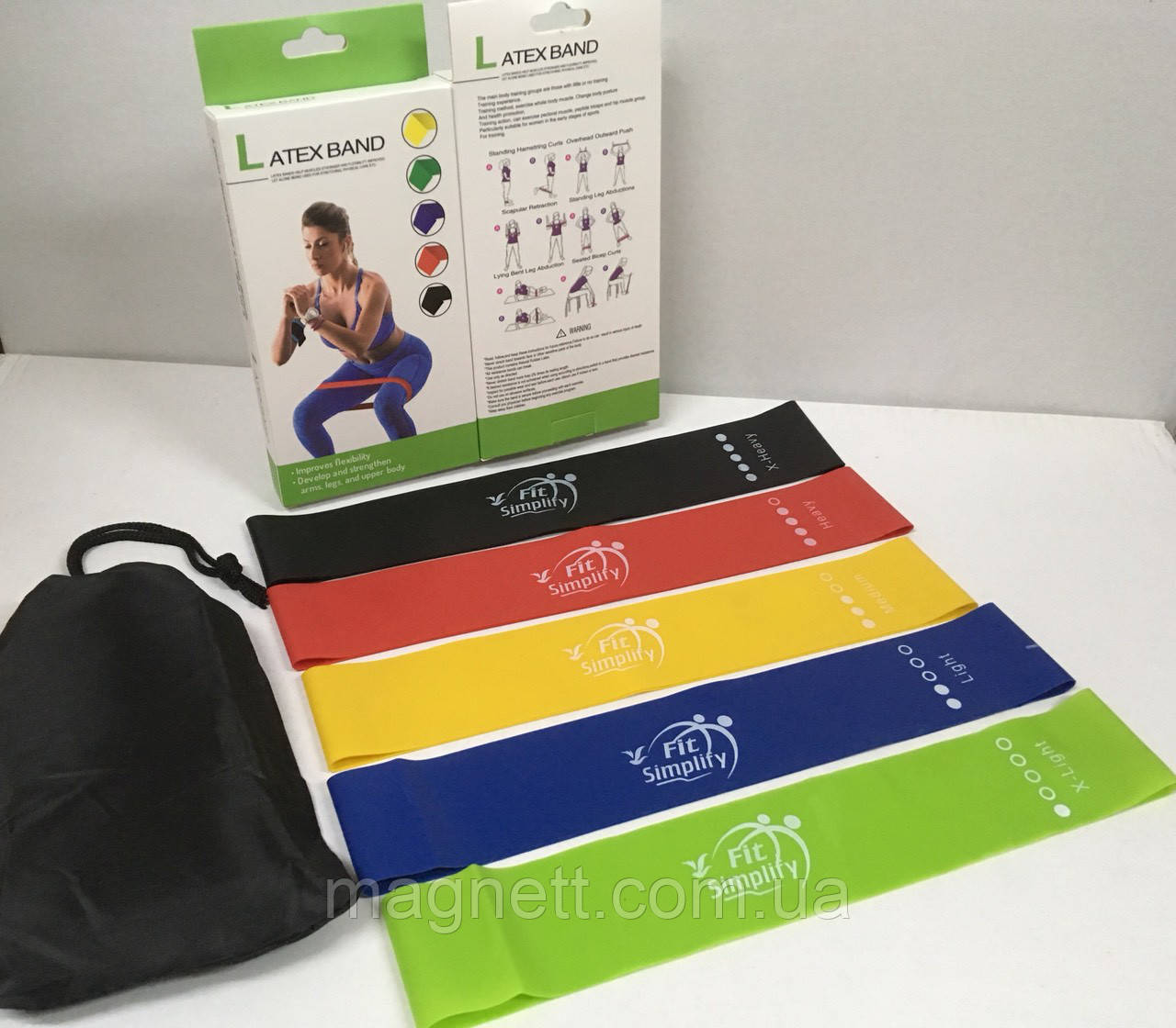 Набор фитнес резинок Latex band (В комплекте 5 штук+мешочек для хранения)