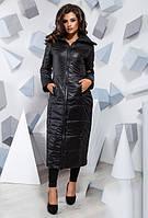 Длинная теплая черная куртка большого размера 816619