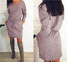 Модное платье на осень средней длины на поясе с бусами бордовое, фото 2