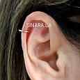 Серебряная серьга обманка в нос Кольцо - Пирсинг обманка в нос кольцо - Серебряная Каффа в ухо кольцо обманка, фото 3