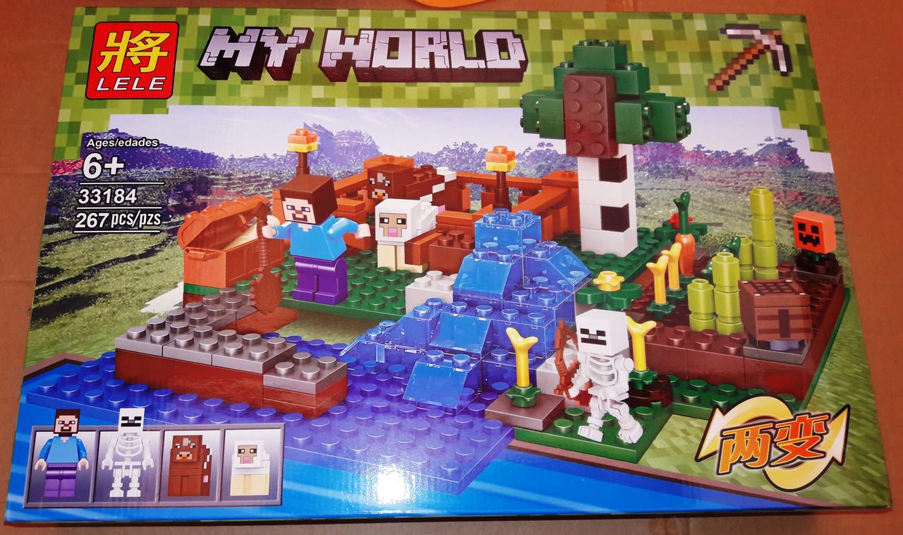 Конструктор Lele 33184 Minecraft Майнкрафт Ферма с водопадом 267 деталей
