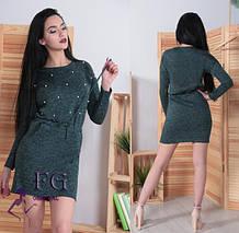 Весеннее платье мини полуоблегающее на поясе темно-зеленое, фото 2