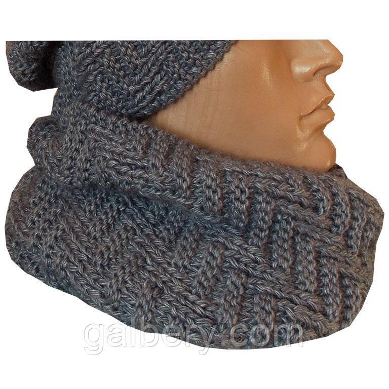 Зимний шарф хомут ручной работы