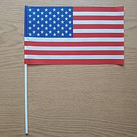 Флажок США 13x23 см на пластиковом флагштоке