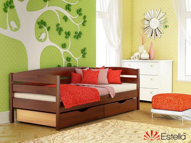 Кровать Нота Плюс №108 Каштан (Бук Щит) ящики ДСП