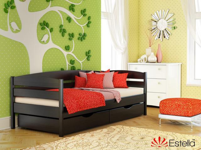 Кровать Нота Плюс цвет №106 Венге (Бук Массив). Кровать имеет стандартное расстояние между ламелями – 7 см.