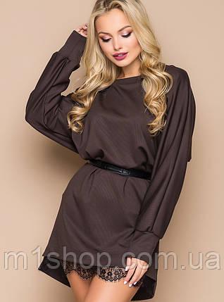 Женское платье свободного кроя с гипюром по низу (5024-5023 bej), фото 2