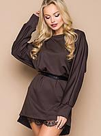 Женское платье свободного кроя с гипюром по низу (5024-5023 bej)