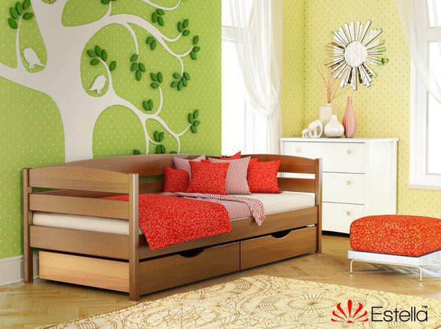 Кровать Нота Плюс цвет №103 Светлый Орех (Бук Массив) ящики ДСП