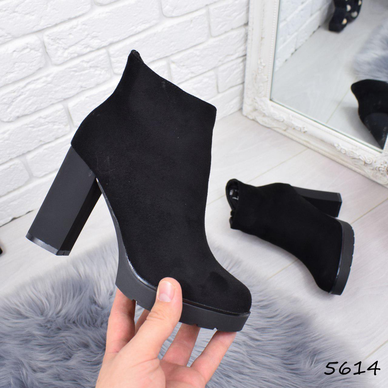 """Ботильоны женские на каблуке, черные """"Diffe"""" , эко замша, повседневная обувь, ботинки женские"""
