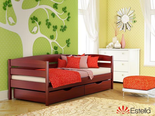 Кровать Нота Плюс цвет №104 Красное дерево (Бук Массив)