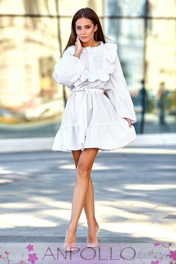 Платье с рюшками с поясом свободное с длинным рукавом