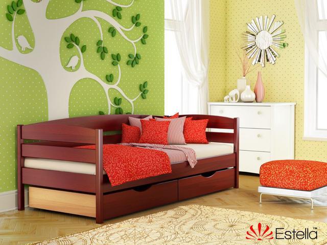 Кровать Нота Плюс цвет №104 Красное дерево (Бук Массив) ящики ДСП