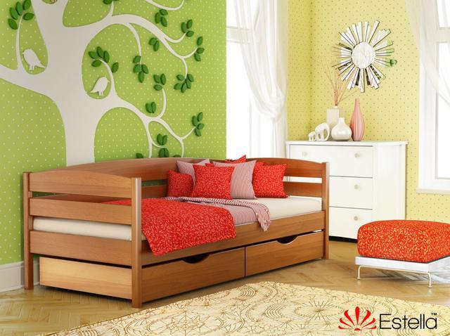 Кровать Нота Плюс цвет №105 Ольха (Бук Массив) ящики ДСП