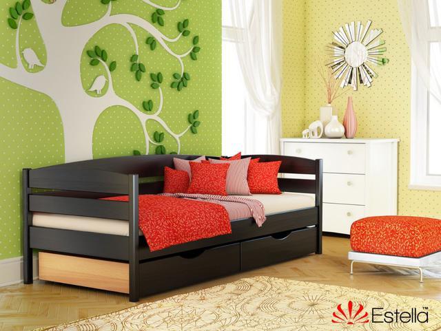 Кровать Нота Плюс цвет №106 Венге (Бук Массив) ящики ДСП