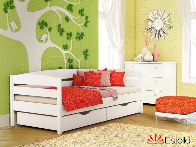 Кровать Нота Плюс цвет №107 Белый Акрил (Бук Массив)