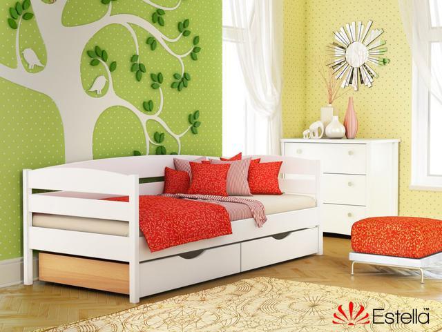 Кровать Нота Плюс цвет №107 Белый Акрил (Бук Массив) ящики ДСП
