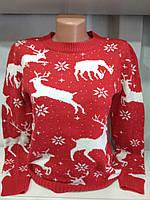 Женский новогодний свитер с оленями красный р. 44-50 Турция