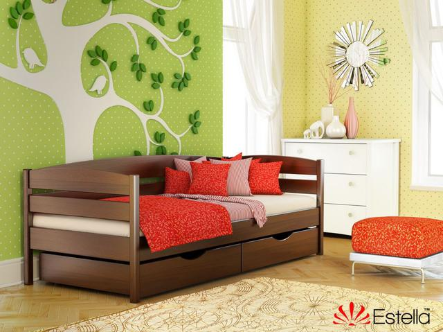 Кровать Нота Плюс цвет №108 Каштан (Бук Массив)