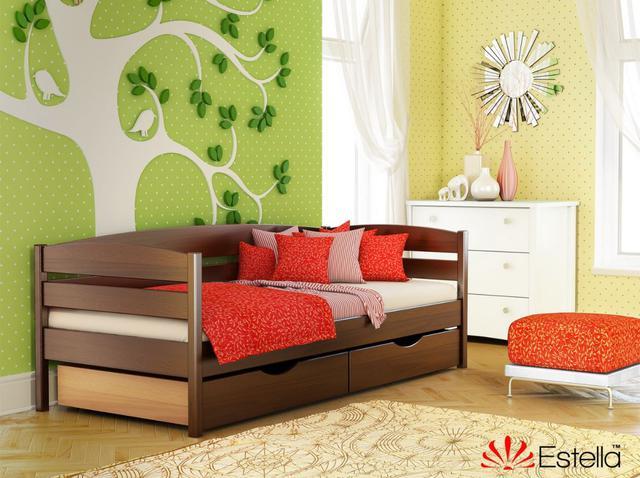 Кровать Нота Плюс цвет №108 Каштан (Бук Массив) ящики ДСП