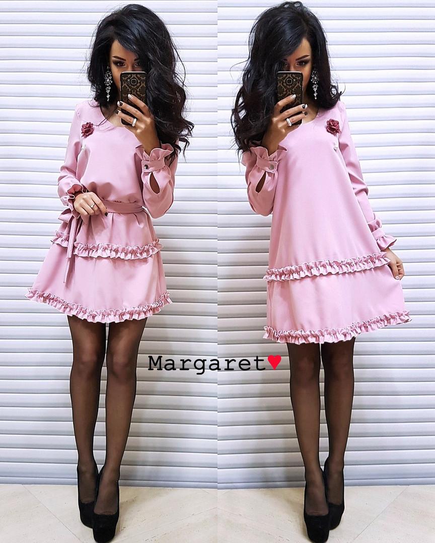 Платье с поясом. Размер единый 42/44 (5058)