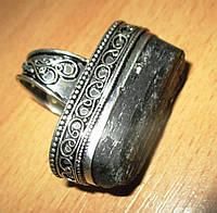 """Крупный серебряный перстень с шерлом """"Скала"""", размер 17.7  от студии LadyStyle.Biz, фото 1"""